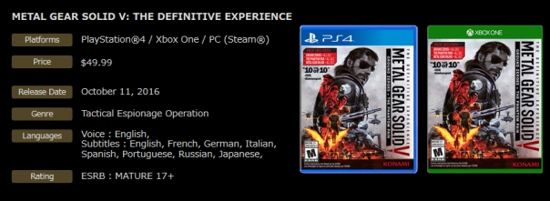 Metal Gear Solid V The Definitive Experience info
